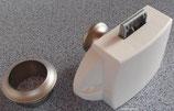 Push Lock Schloss Knopf Rosette silber/weiss Spezial Schlösser