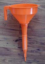 Einfülltrichter für Wasser biegsamer Trichter mit Sieb orange