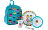 Kinder Rucksack mit Geschirr Set 6teilig Melamin Motiv Camper NEU