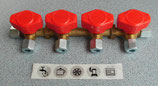 AUSVERKAUFT Gas Verteilerblock Gasventil 4 Abgänge für 8mm Rohr, Gashahn Truma, rot