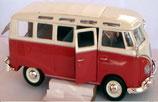 Spielzeug VW Bus T1 Bulli Samba M 1:25 rot/weiß Metallspritzguss