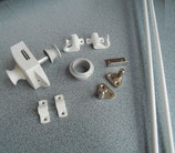 Push Lock + Stangen Schloss beidseitig bedienbar hellgrau1+Rosette/weiß1 komplett