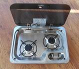 2 Flamm Kocher 30mbar HBG 2335 Dometic mit Glasabdeckung für Wohnmobil