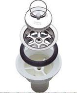 Ablaufgarnitur für Spüle mit großem Stöpsel Ablauf weiß gerade 20mm