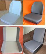 4 Schaumkerne+ 4 Sitzbezüge Stoff grau, Unimog 406- 421 Standard+ ISRI 5002