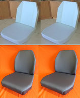 4 Schaumkerne+ 4 Sitzbezüge Stoff grau, Unimog 406- 421 Standard