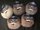 Pascuali Puno 50 g, 65% Baumwolle (GOTS) 35% Alpakawolle. Naturbelassen