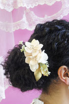 Barrette ou bracelet Petit Bouquet Cérémonie blanc/poudré