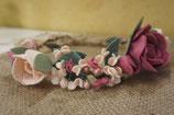Couronne de fleurs -Cérémonie-. Rose poudré et rose anglais.