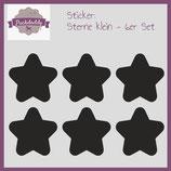 """Sticker """"Sterne"""" klein schwarz- 6er Set"""