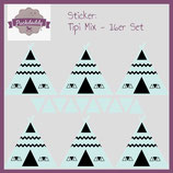 "Sticker Mix ""Tipi & Dreiecke"" mint klein - 16er Set"