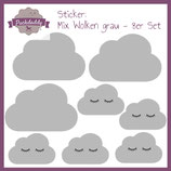 "Sticker Mix ""Wolken"" grau - 8er Set"