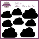 "Sticker Mix ""Wolken"" schwarz - 8er Set"