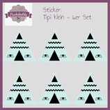 "Sticker ""Tipi"" mint klein - 6er Set"