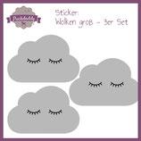 """Sticker graue """"Wolken Augen"""" groß - 3er Set"""