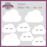 "Sticker Mix ""Wolken"" weiß - 8er Set"