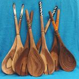 Ugandan solid wood serving utensils