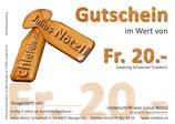 Allgemeiner Gutschein für Fr. 20.-