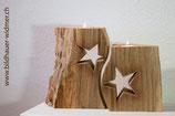 Adventskerzenhalter 2-teilig,  mit Sternen