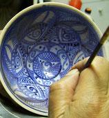 9.3 Cuenco en azul cobalto sobre blanco