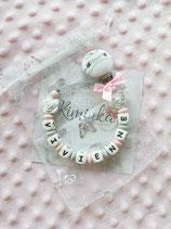 """Nuggikette / Schnullerkette """"Vivienne"""" rosa/marmor Rosen"""