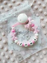 """Nuggikette / Schnullerkette """"Jana"""" pink/rosa Schleife"""