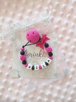 """Nuggikette / Schnullerkette """"Vila"""" pink/schwarz"""