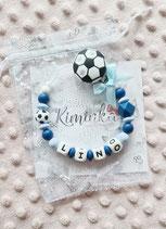 """Nuggikette / Schnullerkette """"LINO"""" dunkelblau Fussball-Edition"""