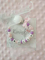 "Nuggikette / Schnullerkette ""Milly"" lila/rosa"