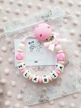 "Nuggikette / Schnullerkette ""ILARIA"" pink/rosa"