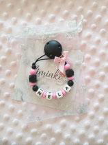 """Nuggikette / Schnullerkette """"Mila"""" pink/schwarz"""