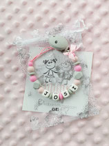 "Nuggikette / Schnullerkette ""Josi"" hellgrau/rosa/pink"