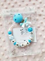 """Nuggikette / Schnullerkette """"ANGELO"""" blau/hellblau"""
