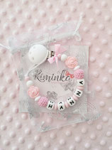 """Nuggikette / Schnullerkette """"Hanna"""" Rosen rosa"""