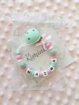 """Nuggikette / Schnullerkette """"Naima"""" pink/mint"""