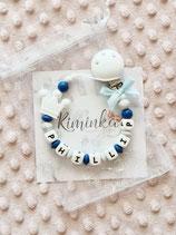 """Nuggikette / Schnullerkette """"PHILLIP"""" blau/marmor mit Krone"""