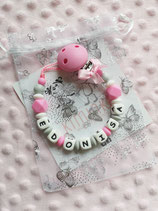 "Nuggikette / Schnullerkette ""Edonisa"" hellgrau/pink"
