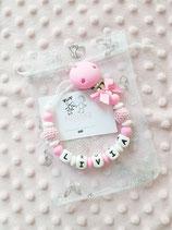 """Nuggikette / Schnullerkette """"LIVIA"""" pink/weiss"""