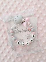 """Nuggikette / Schnullerkette """"Ava"""" rosa/marmor"""