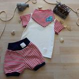 "Babyshirt""Ahoy- Maritime"" Babyhose ""Ahoy-Maritime"" und Spucktuch ""Ahoy- Maritime"" aus der Bio- Kollektion ""Maritime Summer"""