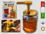 """50 Dosatori per miele giallo """"quadro"""" su capsula da 500 e 1000 gr."""