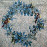 Blue flower wreath ペーパーナプキン