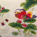 Mandarine ducks with lotus ペーパーナプキン