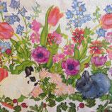 お花畑のミニウサギ ペーパーナプキン