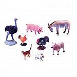 Set Animales Cerdo, Conejo, Gato, Urogallo, Avestruz, Gallina, Mula y Oveja.