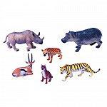 Set Animales Tigre, Rinoceronte, Hipopótamo, Hiena, Gacela y lince