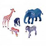 Set Animales Jirafa, Chimpancé, Elefante, Leopardo y Cebra.