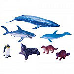 Set Animales Ballena, Tiburón, Delfín, Pingüino, Foca, Nutria y Castor.
