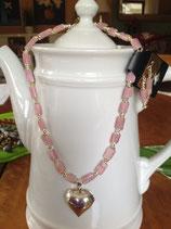 Pink Turmalin mit Sterling-Silber Herz