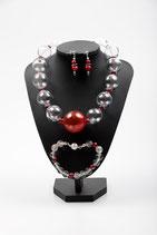 Murano-Glas klar mit roten Perlen 3-teiliges Set